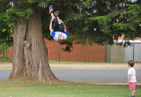 Mitch impressing his 3 y.o. nephew with one of his tricks, backflip from the tree trunk.