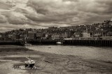 Mono shot of Whitby Harbour.