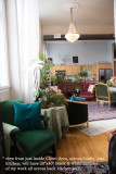 011 - standing in Client Area, and looking across studio - chair is emerald velvet, sofa, forest velvet - all staying