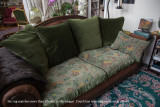 024 - olive velvet/patterned chenille double sided cushioned couch in Client Area - staying