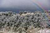 Snow and rainbow - out of my window