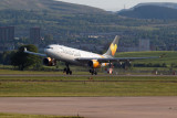 Thomas Cook A330 touch down at Glasgow