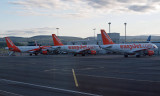 Early morning  - Easyjet aircraft at the gates in Glasgow