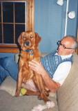 Ben in Pennsylvania with Megabite the golden retriever