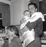 Ben Chaiken with his mother & baby Miriam in Des Moines home 1956