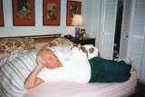 Ben relaxing with Sara's cat Sasha