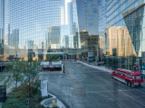 Reflections -- taken through glass of elevated pedestrian walkway