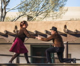 Dancing to music on the plaza