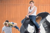 Riding a mechanical bull at Farm and Ranch Museum