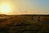 Motoren bij zonsondergang