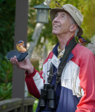 Birder Bob is elated that he attracted the birds by playing bird songs on his MP3 player.