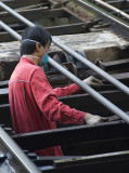 Worker checks the lines