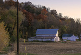 The white homestead standout against the color of the fall trees. Not only does sunset bring out the colors, it also brings out the deer. Look closely and you can see two behind the barn.