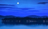 Full moon at  sunrise Wolfeboro Bay