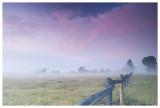 Foggy farm at sunrise