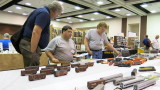 Modelers at the display tables