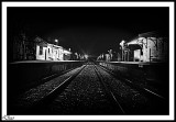 Eerie Atmosphere Of Night At A Country  Railway Station.