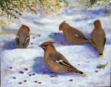 Festin sur neige - Huile 16 x 20 - Collection privée