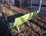 Green bench waiting for users