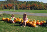 Little Girls Washing Pumpkins