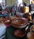 Kathy Thompson Selling Mike's Wooden Wares