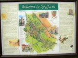 Spofforth  village  and  castle  information  board.