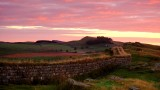 Sunrise  over  Hadrian's  Wall , on  Peel  Crags.