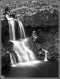waterfall and woman