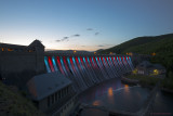 Überlauf mit Beleuchtung an der Edertalsperre  -   Overflow and illumination at the Eder Dam