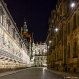 Des Nachts in Dresdens Gassen - Fürstenzug und Hofkirche