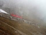 Arriving at foggy Pilatus Kulm