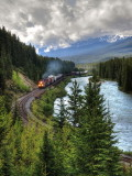 CP train following the Bow River