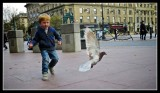 Boy chases Pigeon in Dundee