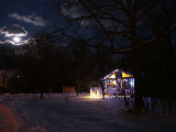 lights with almost full moon and deer path