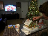 gingerbread house decorating watching white christmas