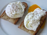 poached eggs on homemade bread