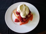 angel food cake with strawberries and fresh whipped cream