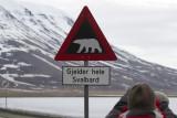 Polar bear warning sign Longyearbyen