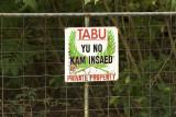 No entry sign, Barrier Beach House,Espiritu Santo, Vanuatu