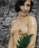 Nude with fern