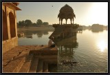 Feeding carps in sunrise light. Jaisalmer.