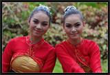 Two Friends. Bali Festival Opening Parade. Denpasar.
