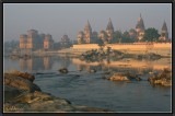 Orchha. Morning light on the Chhattri and river Betwa.