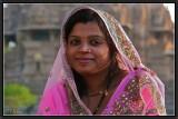 She Was Visiting Khajuraho Temples.