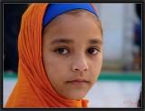 Young Sikh Girl. Gurdwara Bangla Sahib Temple. Delhi.