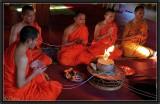 A Buddhist ritual. Vat Si Muang. Vientiane.