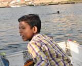 Boy and his styrofoam boat