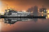 Docked Boats On A Foggy Night 36352-7