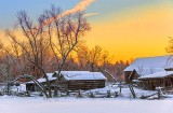 Rustic Farm In Winter Sunrise 42252