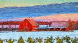 Red Barn At Sunrise P1010163-5 'Art'
